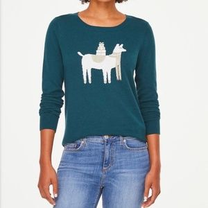 Loft | Llama with Gifts Printed Knit Sweater